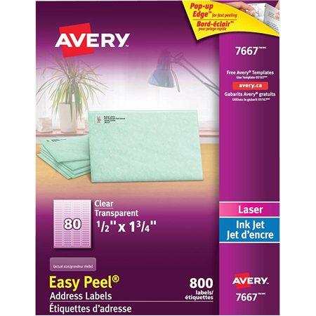 """Étiquettes d'adresse transparentes Easy Peel® 1 / 2 x 1-3 / 4"""" (800)"""