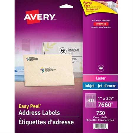 """Étiquettes d'adresse transparentes Easy Peel® 1 x 2-5 / 8""""  (750)"""