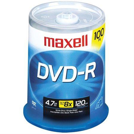 Disque DVD-R inscriptible 16x Sur axe pqt 100