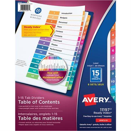 Intercalaires Ready Index® Couleurs variées. 6 jeux. Imprimés. 1-15