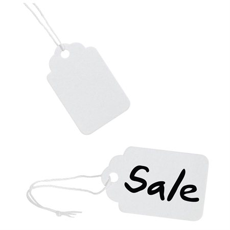White Identification Tags with String