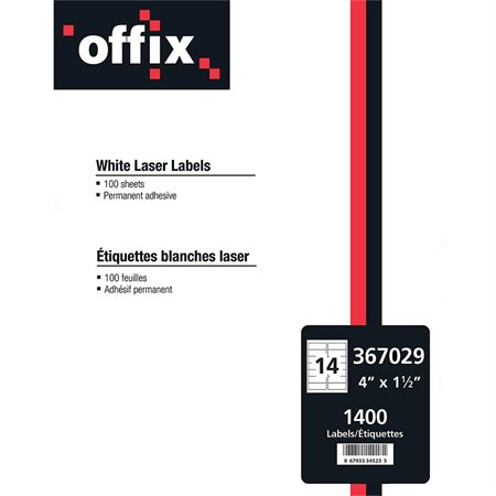 "Offix® White Labels 4 x 1-1 / 2"" (1400)"