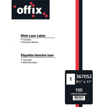 "Offix® White Labels 8-1 / 2 x 11"" (100)"