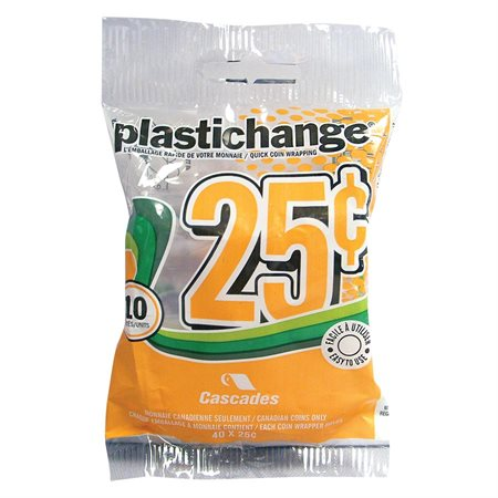 Rouleau pour monnaie Plastichange Paquet de 10 25 ¢
