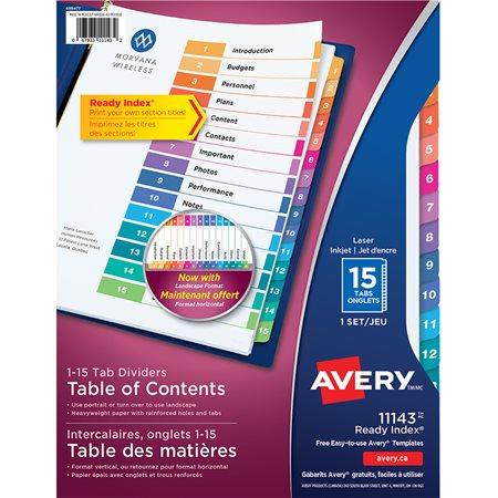 Intercalaires Ready Index® Couleurs variées. 1 jeu. Imprimés. 1-15