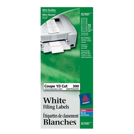 Étiquettes de classement blanches