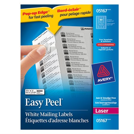 "Easy Peel® White Laser Mailing Labels Box of 100 sheets 1-3 / 4 x 1 / 2""  (8000)"