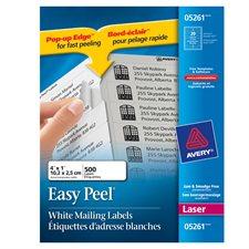 """Étiquettes d'adresse blanches laser Easy Peel® Paquet de 25 feuilles 4 x 1"""" (500)"""