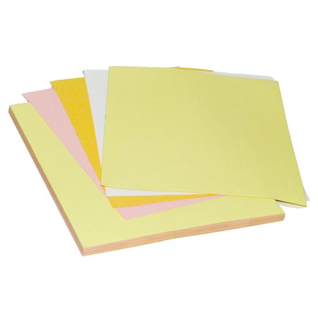Papier NCR Format lettre 4 copies. Verge d'or / rose / canari / blanc. 125 jeux par paquet.