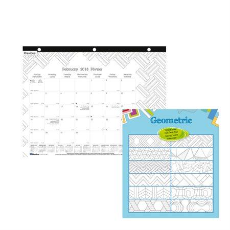 """Calendrier sous-main mensuel DoodlePlan™ (2020) 11 x 8-1 / 2"""", perforé 3 trous pour reliure géométrie"""