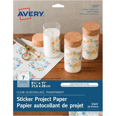 Papier autocollant de projet Paquet de 7 feuilles. glacé, transparent