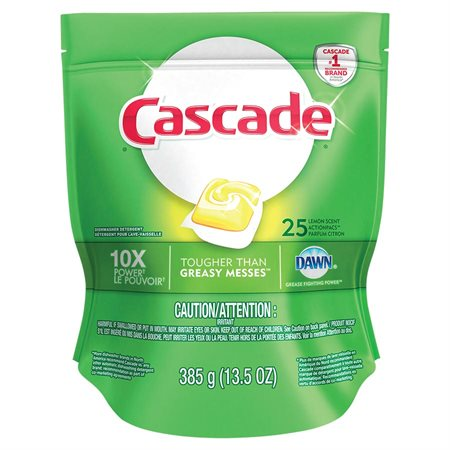 Cascade 2-in-1 Action Pacs® Dishwasher Detergent Package of 25 lemon