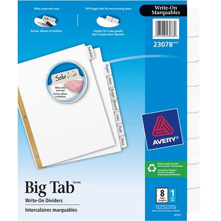 Intercalaires marquables Big Tabs™ 8 onglets