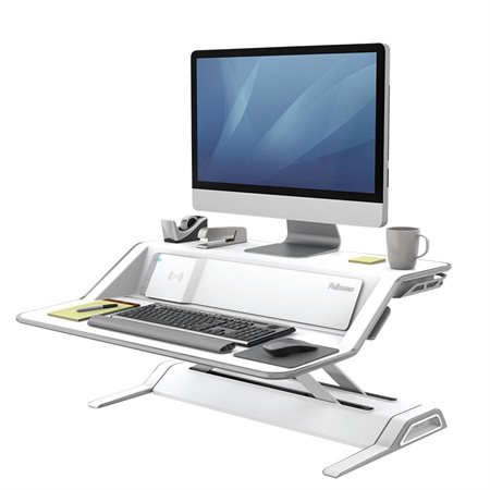 Lotus™ DX Convertible Sit Stand Workstation with Built-in Charging Station white