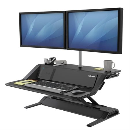 Lotus™ DX Convertible Sit Stand Workstation with Built-in Charging Station black