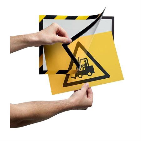Système d'affichage magnétique autocollant de sécurité Duraframe® jaune / noir