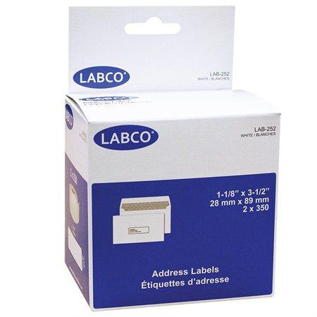 """Étiquettes compatibles pour imprimante à étiquettes Adressage, blanches. 1-1 / 8 x 3-1 / 2"""" (700)"""