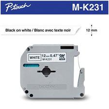 Ruban d'impression M/MK 12 mm noir sur blanc