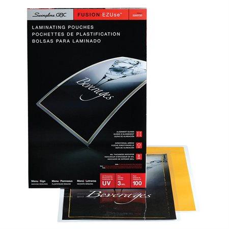 Pochette de plastification EZUse™ 3 mil. menu (100)