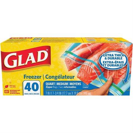 """Sac refermable Glad® Congélateur, 7 x 7-3 / 4"""" boîte de 40"""