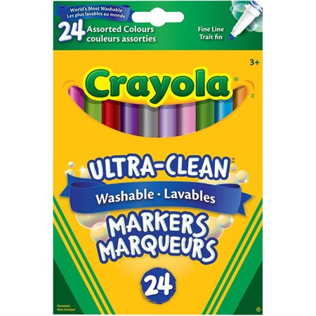 Marqueurs lavables Ultra-Clean Pointe fine couleurs assorties - boîte de 24
