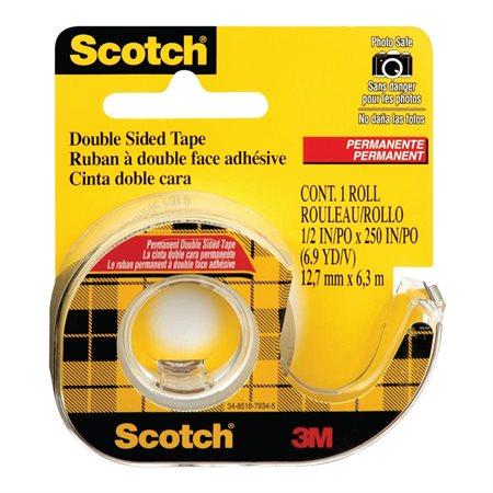 Ruban adhésif double face Scotch® Permanent 12 mm x 6,3 m.