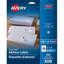 """Étiquettes d'adresse blanches Easy Peel® Paquet de 25 feuilles 4 x 1"""" (500)"""