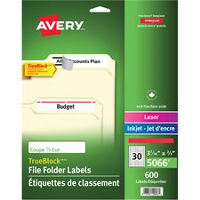 Étiquettes de classement TrueBlock™ Boîte de 1500, 50 feuilles. blanc