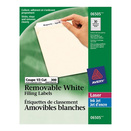 Removable Filing Labels white