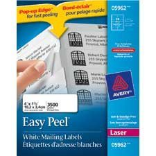 """Étiquettes d'adresse blanches laser Easy Peel® Boîte de 250 feuilles 4 x 1-1/3""""  (3500)"""