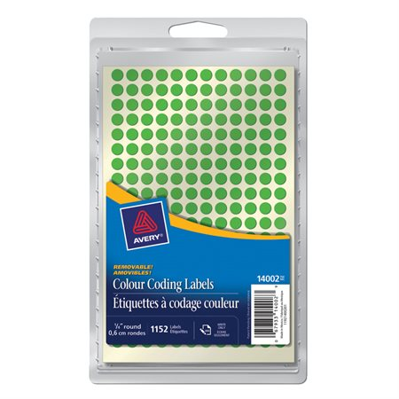 "Étiquettes amovibles Diamètre de 1 / 4"". Paquet de 1152. vert"