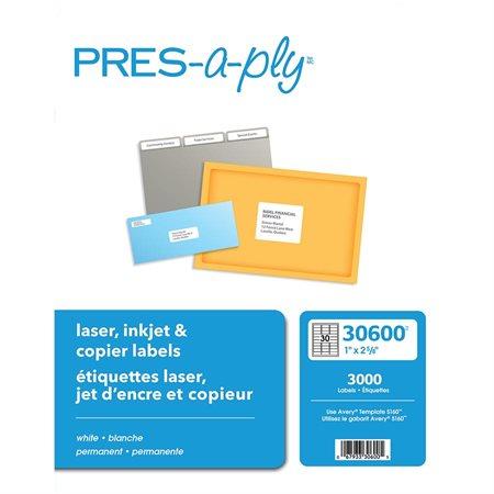 """Étiquettes pour imprimante laser, jet d'encre et copieurs 2-5 / 8 x 1"""" (3000)"""