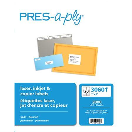 """Étiquettes pour imprimante laser 4 x 1"""" (2000)"""
