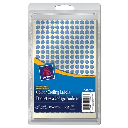"""Étiquettes amovibles Diamètre de 1 / 4"""". Paquet de 1152. bleu"""