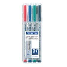 Lumocolor® Non Permanent Marker Fine tip, 0.6 mm. assorted (pkg 4)