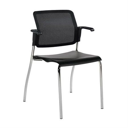 Chaise empilable Sonic Avec bras. Bâti protège-mur noir