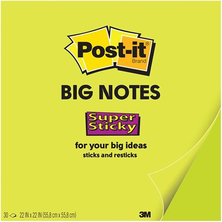 Grands feuillets autoadhésifs Post-it® 22 x 22 po, vert