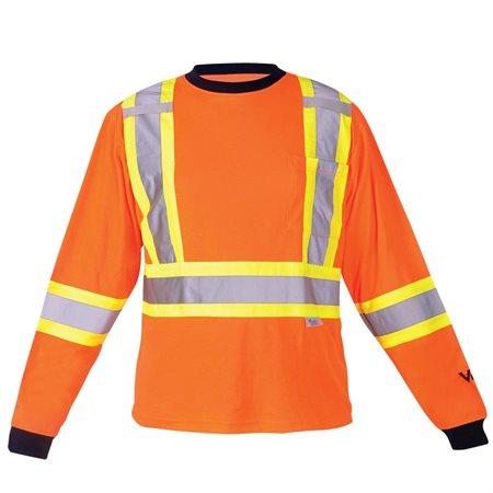 Chandail de sécurité à manches longues doublé de coton Orange M