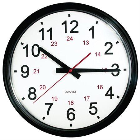 """OP201 CLOCK WALL 24 HOUR 14"""" BLK"""