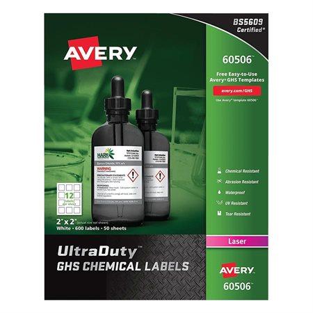 """Étiquettes SGH pour produits chimiques UltraDuty™ 2 x 2"""" (600)"""