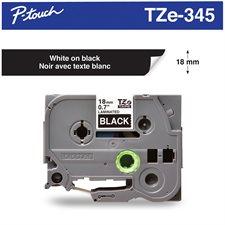 Ruban d'impression P-Touch TZe 18 mm blanc sur noir