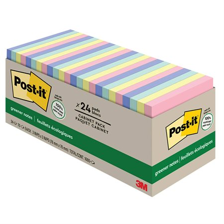Feuillets Post-it® Greener Notes - collection Helsinki 3 x 3 po bloc de 100 feuillets (pqt 24)
