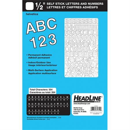 """Lettres et chiffres en vinyle Geosign Chiffres blancs, lettres majuscules et minuscules 12 mm (1 / 2"""")"""