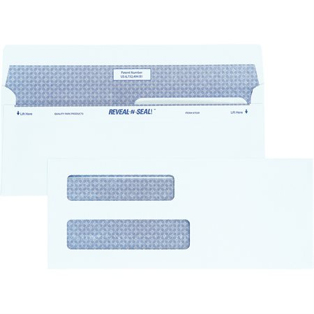 Enveloppe blanche Reveal N Seal® Double fenêtre. #8. 8-5 / 8 x 3-5 / 8 po.