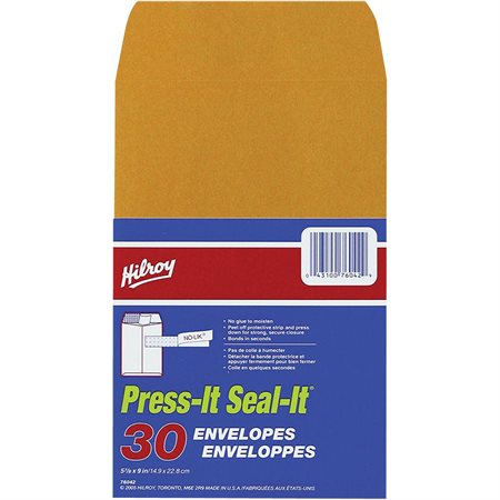 Enveloppe kraft Press-it Seal-it® 5-7 / 6 x 9 po (30)