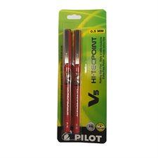 Stylos à bille roulante Hi-Tecpoint V5 / V7 0,5 mm. Paquet de 2. V5 rouge