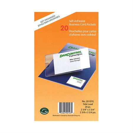 Pochette pour cartes professionnelles paquet de 20.