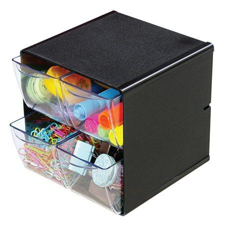 Cube de rangement empilable 4 tiroirs noir