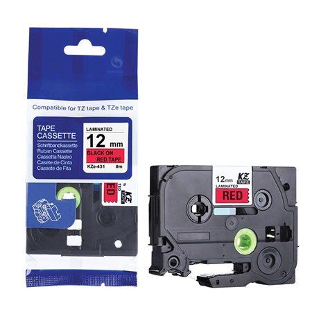 Ruban compatible pour étiqueteuses P-Touch 12 mm noir sur rouge