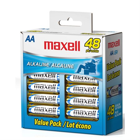 Piles alcalines Maxell 48 x AA